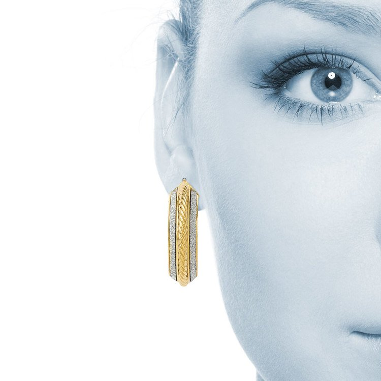 Two-tone Sparkling Rope Hoop Earrings in White & Yellow Gold | 04
