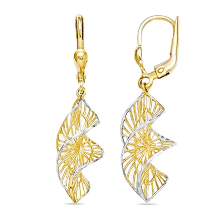 Two-Tone Spiral Leverback Dangle Earrings in Yellow Gold | 02