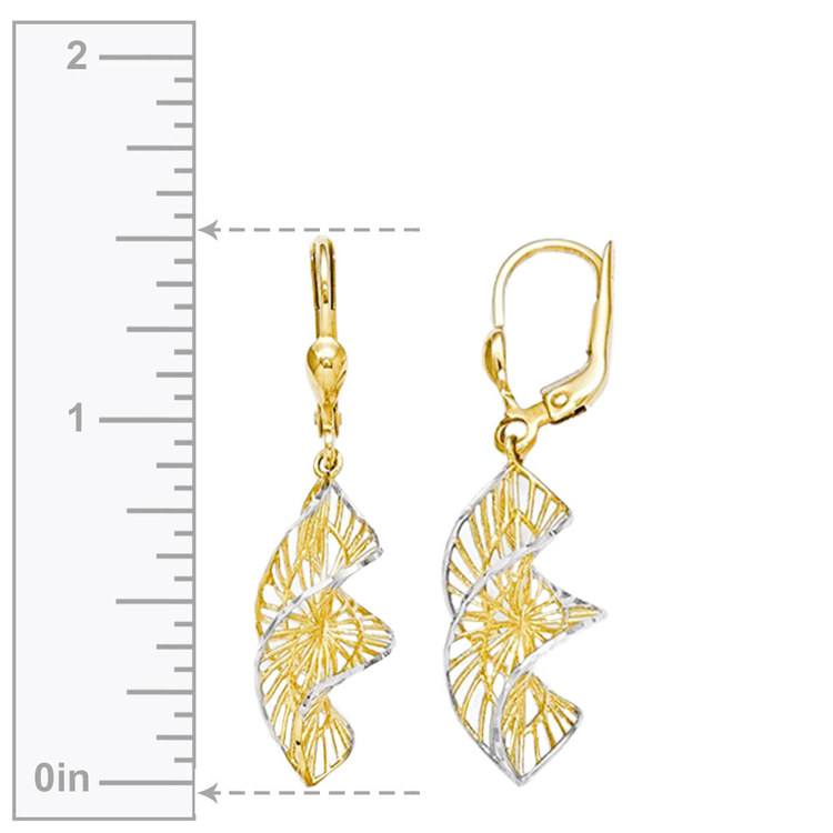Two-Tone Spiral Leverback Dangle Earrings in Yellow Gold | 03