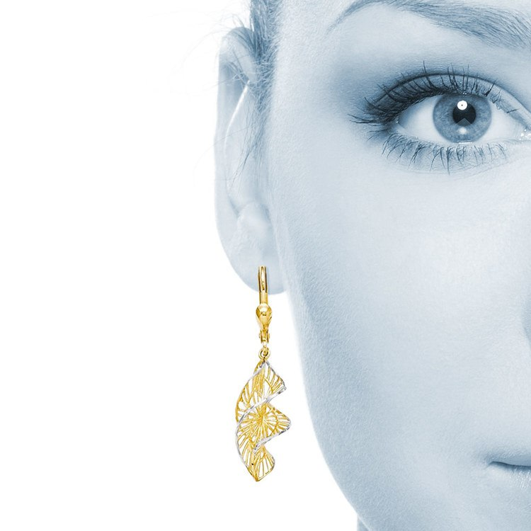 Two-Tone Spiral Leverback Dangle Earrings in Yellow Gold | 04