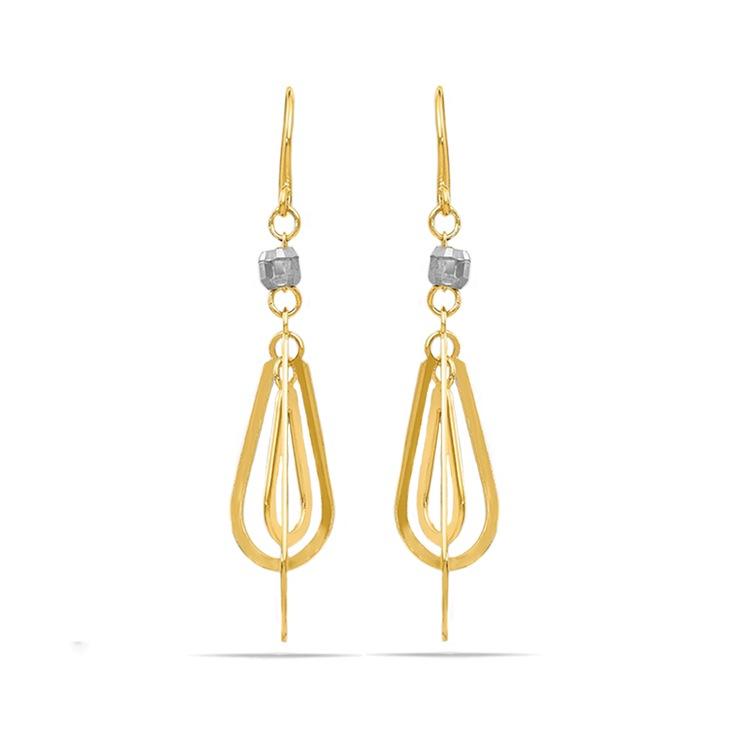 Two-Tone Triple Teardrop Dangle Earrings | 01