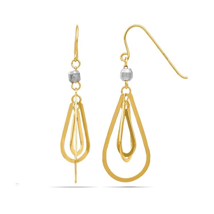Two-Tone Triple Teardrop Dangle Earrings | 02