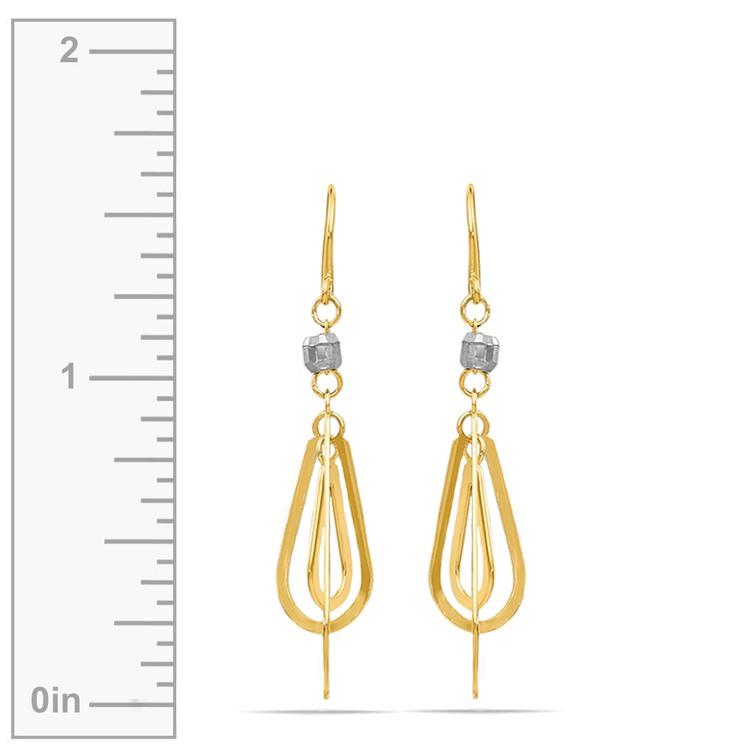 Two-Tone Triple Teardrop Dangle Earrings | 03
