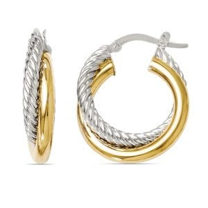 Two-tone Twisted Rope Hoop Earrings in White & Yellow Gold