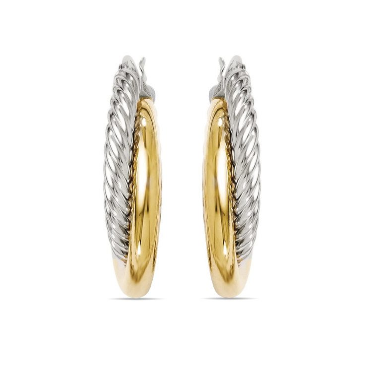 Two-tone Twisted Rope Hoop Earrings in White & Yellow Gold | 02