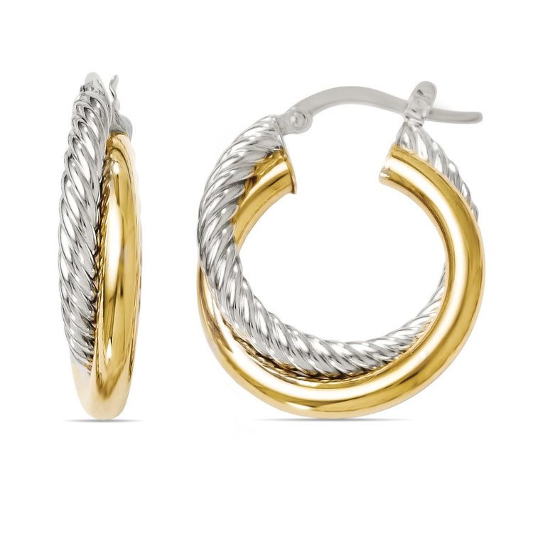 Two-tone Twisted Rope Hoop Earrings in White & Yellow Gold | 01