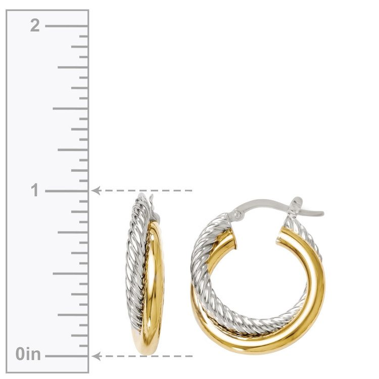 Two tone Twisted Rope Hoop Earrings in White & Yellow Gold