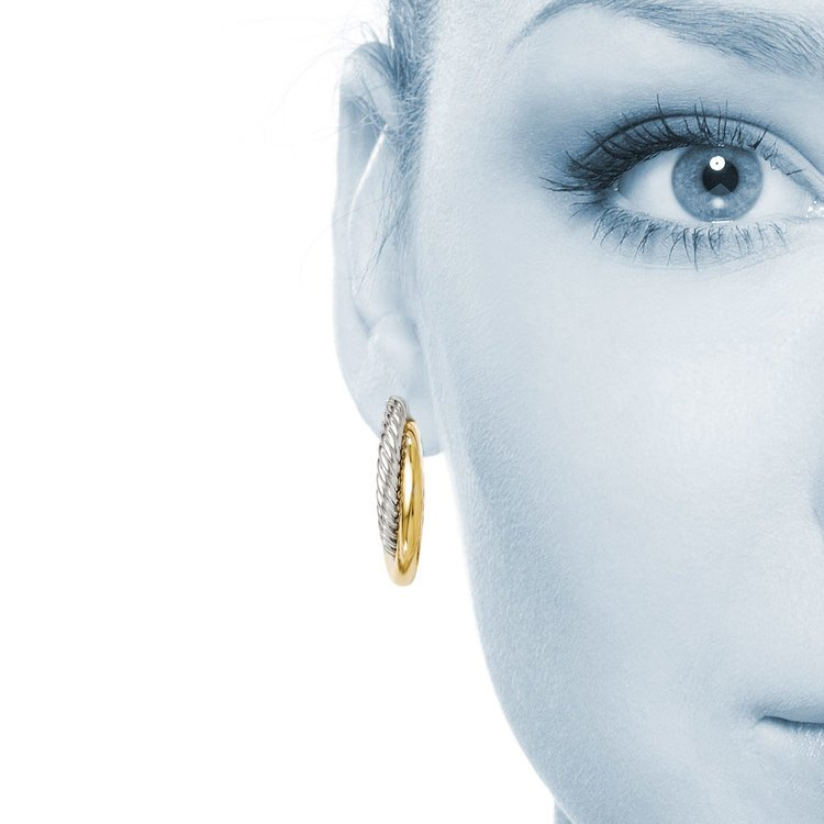 Two-tone Twisted Rope Hoop Earrings in White & Yellow Gold | 04