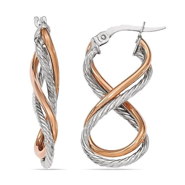Two tone Gold Twisted Rope Infinity Hoop Earrings