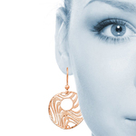 Wave Dangle Earrings with Rose Finish in Silver | Thumbnail 01