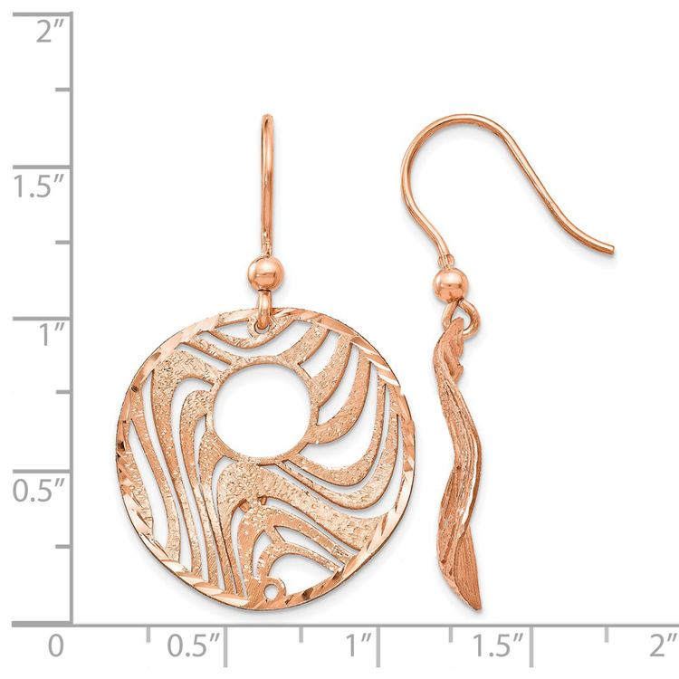 Wave Dangle Earrings with Rose Finish in Silver | 03