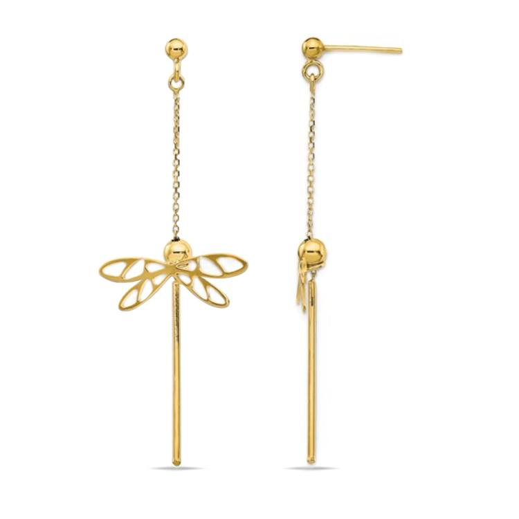 Whimsical Dragonfly Dangle Earrings in 14K Yellow Gold | 02
