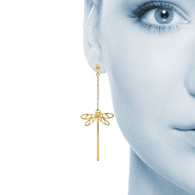 Whimsical Dragonfly Dangle Earrings in 14K Yellow Gold | 04