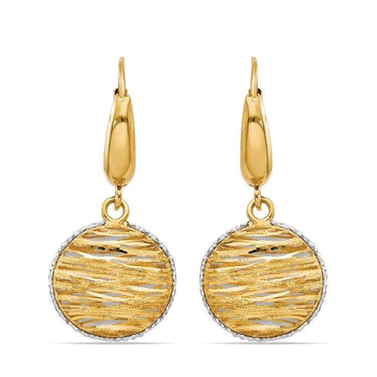 White Accented Woven Disc Earrings in 14K Gold | 01