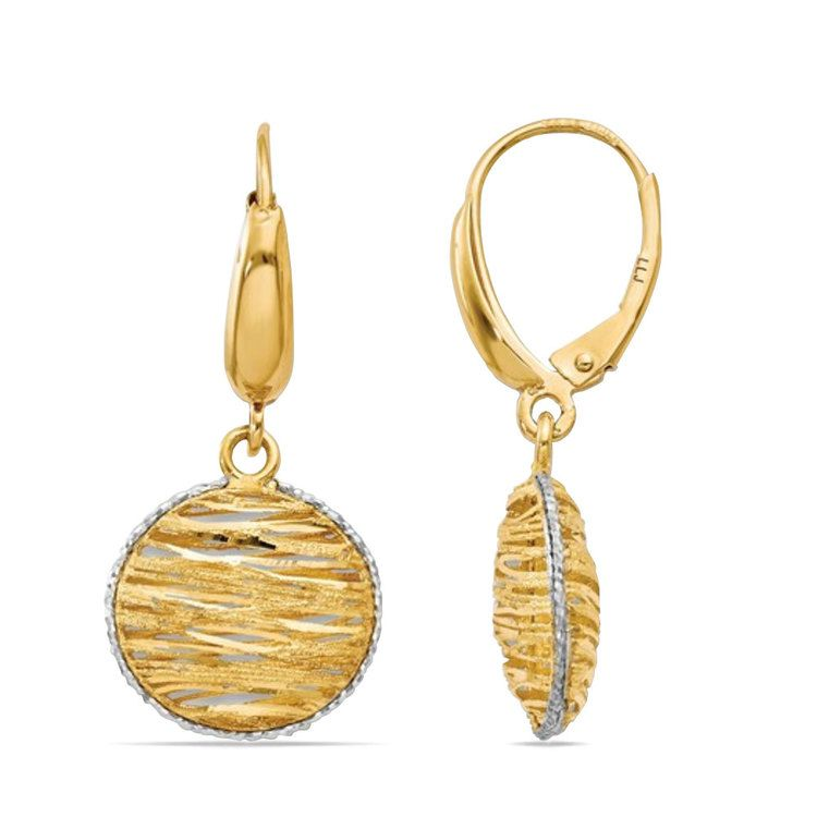 White Accented Woven Disc Earrings in 14K Gold | 02