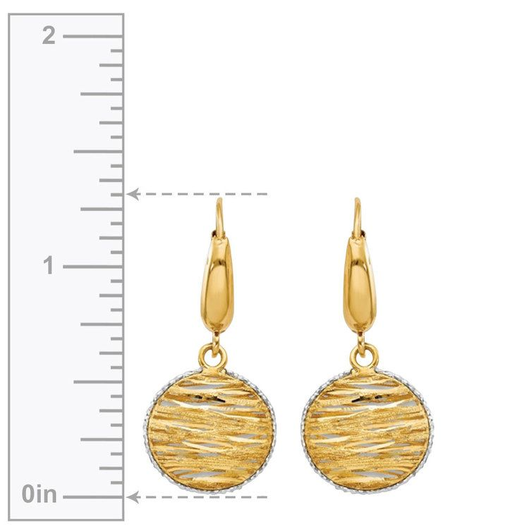 White Accented Woven Disc Earrings in 14K Gold | 03