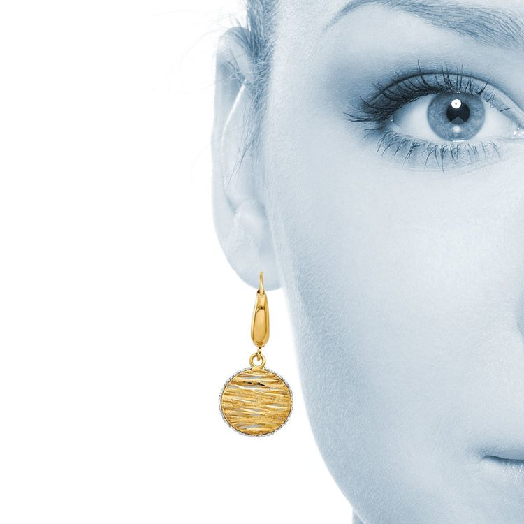 White Accented Woven Disc Earrings in 14K Gold | 04