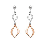 White and Rose Tone Sculptural Dangle Earrings in Silver | Thumbnail 01
