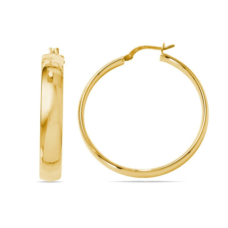 Wide Round Hoop Earrings in Yellow Gold (35 mm) | 01