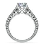 Antique Floral Diamond Engagement Ring in Platinum (1/2 ctw) | Thumbnail 02