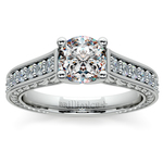 Antique Floral Diamond Engagement Ring in White Gold (1/2 ctw) | Thumbnail 01