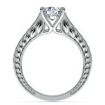 Antique Floral Diamond Engagement Ring in White Gold (1/2 ctw) | Thumbnail 02