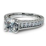 Antique Floral Diamond Engagement Ring in White Gold (1/2 ctw) | Thumbnail 04