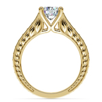 Antique Floral Diamond Engagement Ring in Yellow Gold (1/2 ctw) | Thumbnail 02