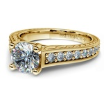 Antique Floral Diamond Engagement Ring in Yellow Gold (1/2 ctw) | Thumbnail 04