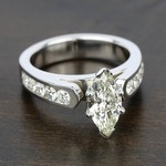 Cathedral Diamond Engagement Ring with Channel Setting in White Gold | Thumbnail 05