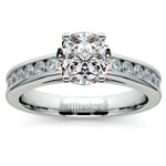 Channel Cathedral Diamond Engagement Ring in White Gold (1/2 ctw) | Thumbnail 01