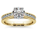 Channel Cathedral Diamond Engagement Ring in Yellow Gold (1/2 ctw) | Thumbnail 01