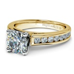 Channel Cathedral Diamond Engagement Ring in Yellow Gold (1/2 ctw) | Thumbnail 04