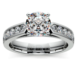 Cathedral Diamond Engagement Ring with Channel Setting in White Gold | Thumbnail 01