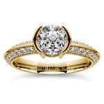 Half Bezel Knife Edge Diamond Engagement Ring in Yellow Gold | Thumbnail 01