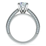 Pave Three Sided Diamond Engagement Ring in Platinum (1/2 ctw) | Thumbnail 02