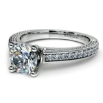 Pave Three Sided Diamond Engagement Ring in Platinum (1/2 ctw) | Thumbnail 04
