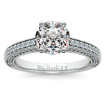 Pave Three Sided Diamond Engagement Ring in White Gold (1/2 ctw) | Thumbnail 01