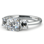 Trapezoid Diamond Engagement Ring in Platinum (1/2 ctw) | Thumbnail 04