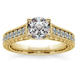 Antique Floral Diamond Engagement Ring in Yellow Gold (1/2 ctw)