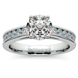 Channel Cathedral Diamond Engagement Ring in Palladium (1/2 ctw)