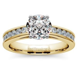 Channel Cathedral Diamond Engagement Ring in Yellow Gold (1/2 ctw)