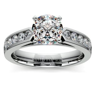 Cathedral Diamond Engagement Ring with Channel Setting in White Gold