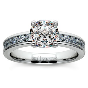 Channel Diamond Engagement Ring in Palladium (1/2 ctw)