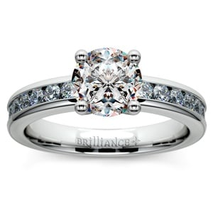 Channel Diamond Engagement Ring in White Gold (1/2 ctw)