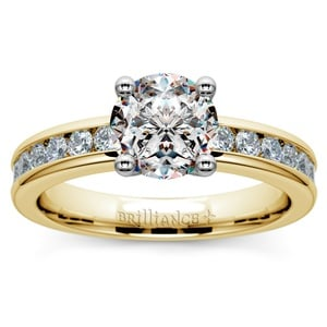 Channel Diamond Engagement Ring in Yellow Gold (1/2 ctw)