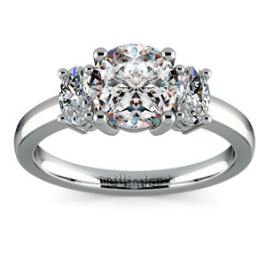 Oval Diamond Engagement Ring in White Gold (1/2 ctw)