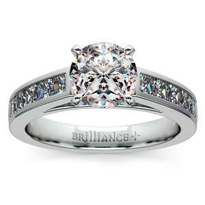 Princess Channel Diamond Engagement Ring in White Gold (1/2 ctw)