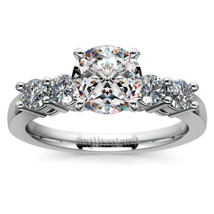 Round Five-Diamond Engagement Ring in White Gold (1/2 ctw)