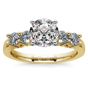 Round Five-Diamond Engagement Ring in Yellow Gold (1/2 ctw)